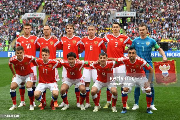 The Russia team line up prior to the 2018 FIFA World Cup Russia Group A match between Russia and Saudi Arabia at Luzhniki Stadium on June 14 2018 in...