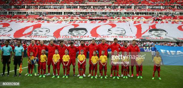 The Russia team line up prior to the FIFA Confederations Cup Russia 2017 Group A match between Mexico and Russia at Kazan Arena on June 24 2017 in...
