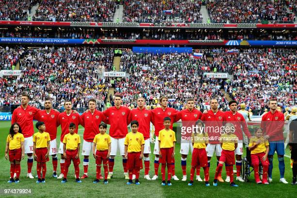 The Russia team lines up before the 2018 FIFA World Cup Russia group A match between Russia and Saudi Arabia at Luzhniki Stadium on June 14 2018 in...