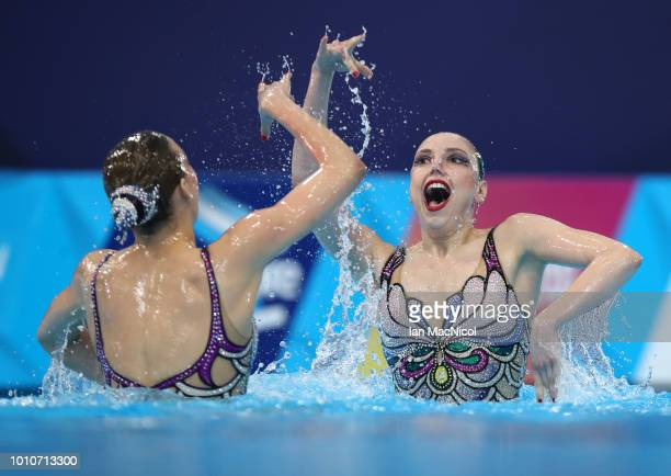 The Russia team perform in the Preliminary round of the Duet Free Routine during the sychronised swimming on Day three of the European Championships...