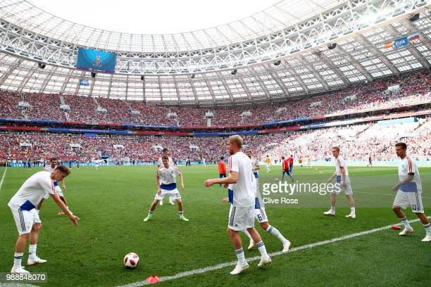 The Russia team warm up ahead of the 2018 FIFA World Cup Russia Round of 16 match between Spain and Russia at Luzhniki Stadium on July 1 2018 in...