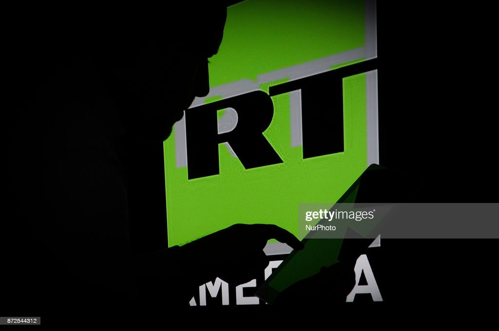 The Russia Today logo is seen on a computer screen on