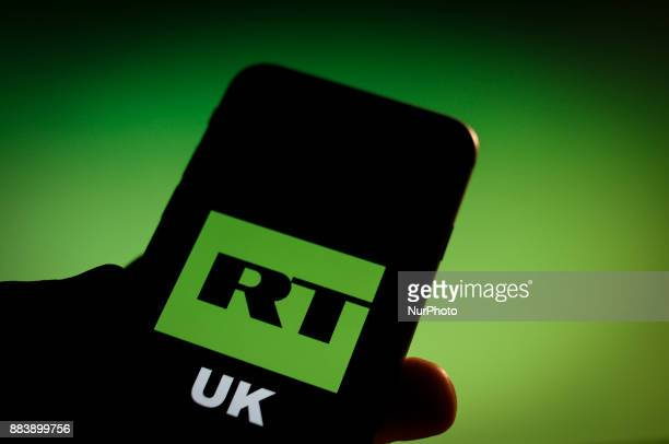 The Russia Today logo is seen on a iPhone in this photo illustration on December 1 2017