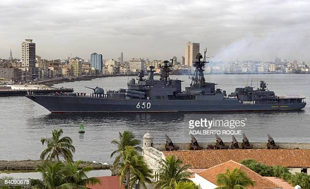 The Russian Admiral Chabanenko destroyer arrives at Havana's harbor on December 19 2008 A group of Russian warships arrived in Cuba on Friday the...