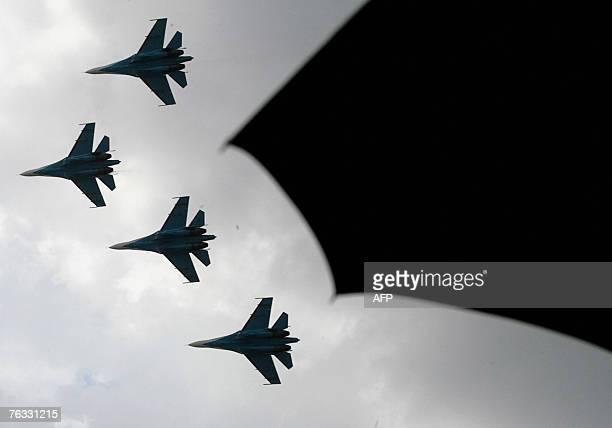 """The Russian aerobatics group, Russian Knights performs at the International Aviation and Space salon """"MAKS-2007"""" in Zhukovsky airfield, outside..."""
