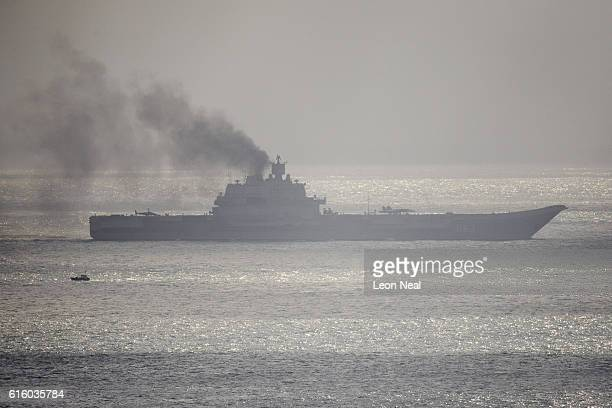 The Russian aircraft carrier Admiral Kuznetsov passes through the English channel on October 21 2016 near Dover England The Russian Navy's flotilla...