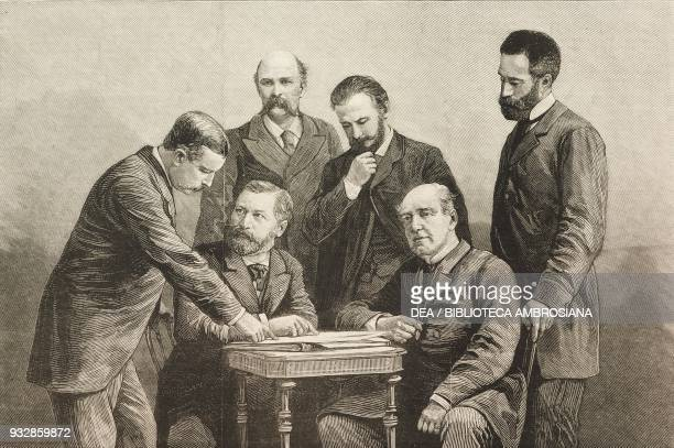 The Russian and AngloIndian delegates discussing about the Approach of the British and Russian frontiers in Asia at the Geographical Congress Colonel...