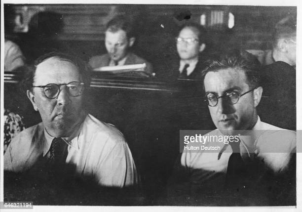 The Russian authors Tolstoy and Koltrov attending the International Writers' Congress in Valencia Spain 1937