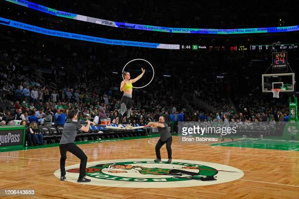 The Russian Bar Trio performs during halftime of the game between the Brooklyn Nets and the Boston Celtics on March 03 2020 at the TD Garden in...