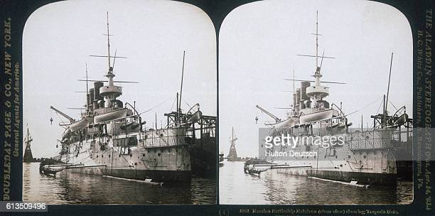 The Russian battleship 'Retvizan' at Port Arthur or Lushun in China in 1904 just before it and the rest of the Russian fleet were torpedoed by the...