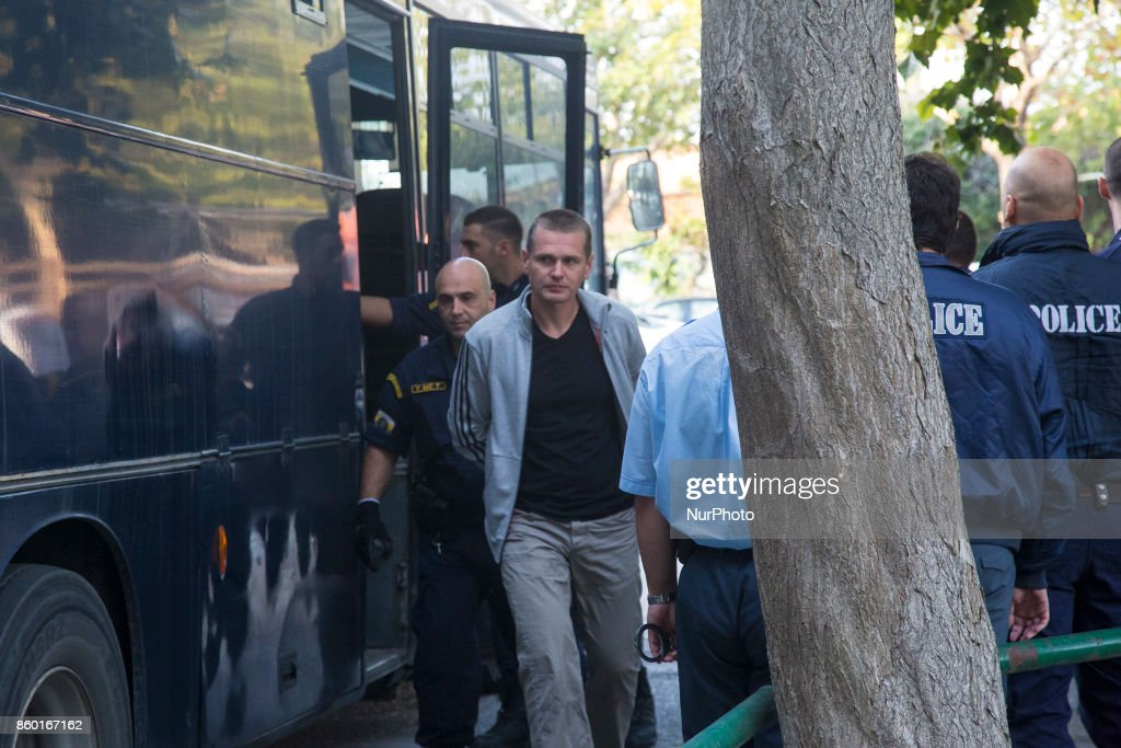 The Russian bitcoin fraud suspect Alexander Vinnik escorted to the courthouse of Thessaloniki to examine the Russian request for extradition of the accused in Russia, Thessaloniki, Greece on October 11, 2017.