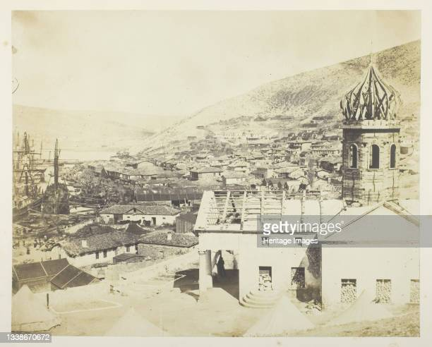 The Russian Church & Town of Balaklava, 1855. A work made of salted paper print, plate 24 from the album 'photographs taken in the crimea' . Artist...