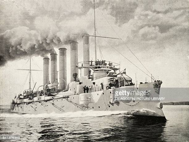The Russian cruiser Askold which took part in the RussoJapanese War engraving 19th century