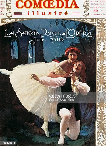 The Russian dancers Tamara Karsavina and Vaslav Nijinsky from the Ballets Russes in the ballet Les Sylfides at Paris Opera June 1910 Magazine cover...