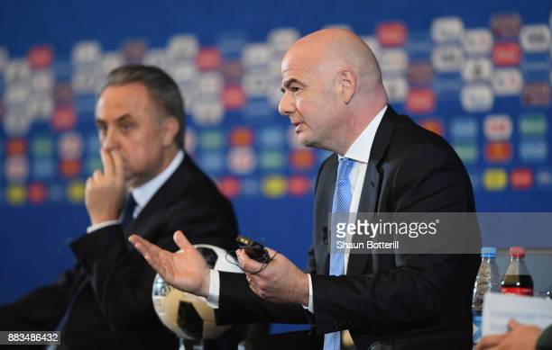 The Russian deputy prime minister Vitaly Mutko and FIFA President Gianni Infantino talk to the media during a talk show presentation prior to the...