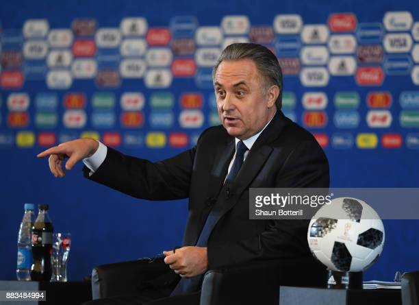 The Russian deputy prime minister Vitaly Mutko talks to the media during a talk show presentation prior to the 2018 FIFA World Cup Draw at the...