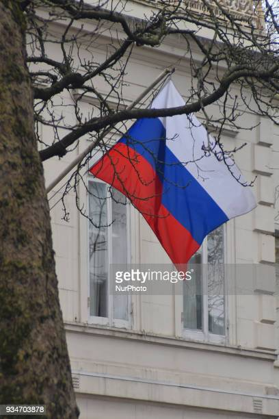 The Russian Embassy in the UK is pictured in London on March 19 2018 Prime Minister Theresa May has expelled 23 Russian Diplomats over the nerve...