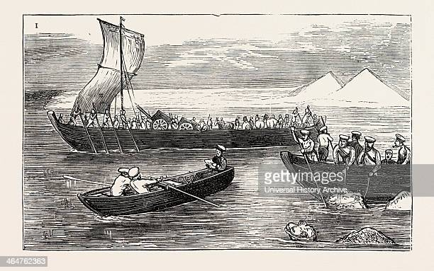 Passing The River Amu Darya By Russian Troops 1873 Engraving