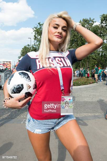 The Russian fan pictured before the 2018 FIFA World Cup Russia Group F match between Germany and Mexico at Luzhniki Stadium in Moscow Russia on June...