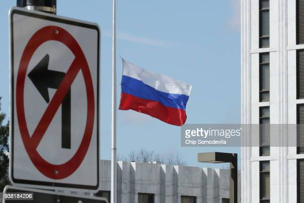The Russian Federation flag flies in front of its embassy March 26 2018 in Washington DC The United States government announced Monday that it will...