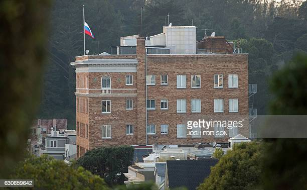 The Russian flag flies at half mast at the ConsulateGeneral of Russia in San Francisco California on December 29 2016 President Barack Obama...