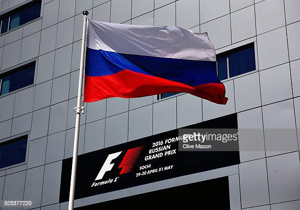 The Russian flag flies in the Paddock during previews ahead of the Formula One Grand Prix of Russia at Sochi Autodrom on April 28, 2016 in Sochi,...