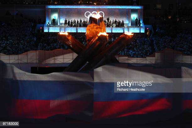 The Russian flag is depicted during the Sochi 2014 Cultural Presentation during the Closing Ceremony of the Vancouver 2010 Winter Olympics at BC...