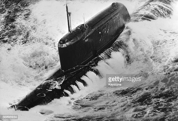 The Russian Hotel class nuclear submarine K19 pictured 700 miles west of Ireland on its journey back to Russia 11th March 1972 It was crippled by a...
