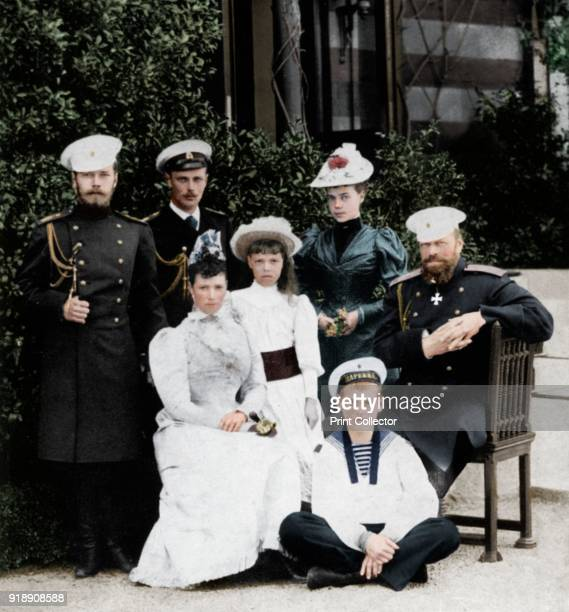 The Russian Imperial family c1894 Tsarevich Nicholas Grand Duke George the Empress Maria Feodorovna Grand Duchess Olga Grand Duchess Xenia Grand Duke...