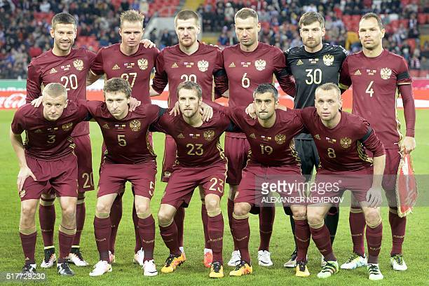 The Russian national football team Igor Smolnikov Pavel Mamaev Dmitri Kombarov Aleksandr Samedov Denis Glushakov and Fedor Smolov Dmitri Tarasov Oleg...
