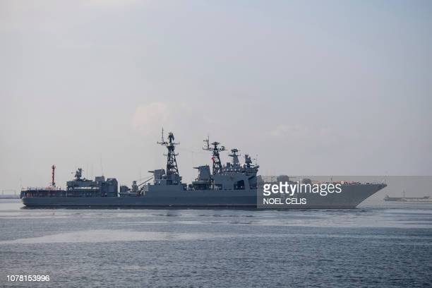 The Russian Navy large antisubmarine ship Admiral Panteleyev arrives at the port in Manila on January 6 2019 The Admiral Panteleev arrived with...