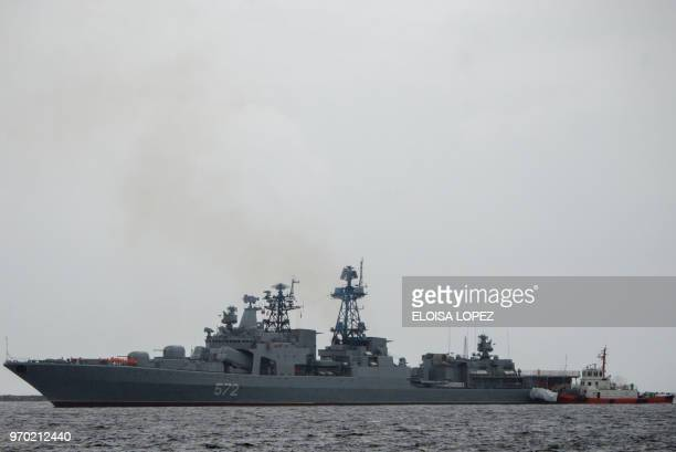 The Russian Navy large antisubmarine ship Admiral Vinogradov arrives for a fiveday goodwill visit at the South Harbor of Manila on June 9 2018 It was...