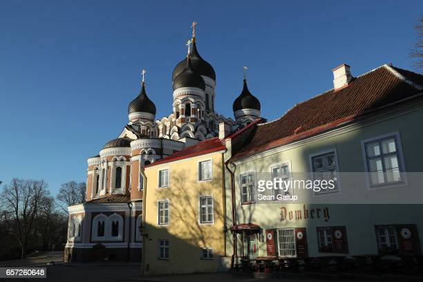 The Russian Orthodox Alexander Nevsky Cathedral stands on Toompea hill in the historic city center on March 24 2017 in Tallinn Estonia Tallinn's old...