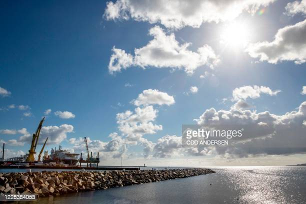 The Russian pipe laying vessel Akademik Cherskiy is moored in the port of Mukran near Sassnitz on the Baltic Sea island of Ruegen, north eastern...
