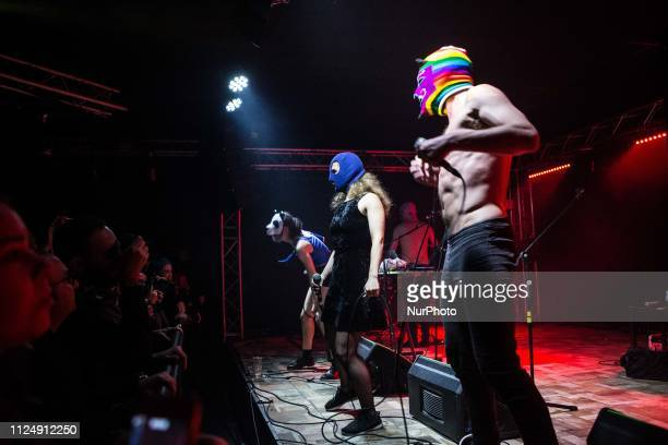 The russian punk group Pussy Riot performing live at Legend Club in Milan Italy