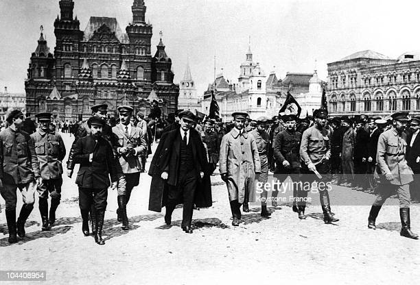The Russian revolutionary Vladimir Ilich ULIANOV with a group of military chiefs on the Red Square Moscow