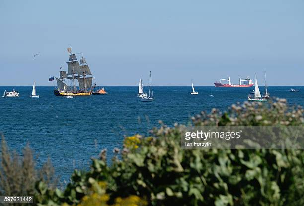 The Russian ship Shtandart sails along the coastline after leaving Blyth harbour during the North Sea Tall Ships Parade of Sail on August 29 2016 in...