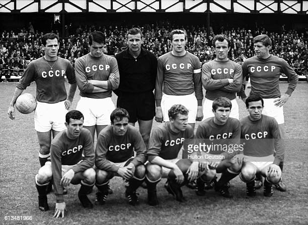 The Russian soccer team poses at Roker Park at the start of a match against Hungary during the 1966 World Cup Russia beat Hungary 21   Location Roker...