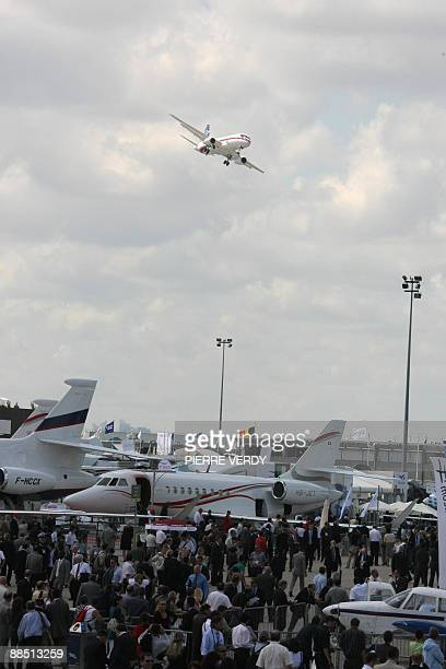 The Russian Sukhoi Superjet 100 performs its flying display on June 16, 2009 during the 48th international Paris Air Show at Le Bourget airport. The...