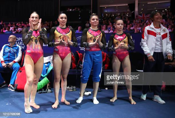 The Russian team celebrate during the Women's Gymnastics Team Final on Day three of the European Championships Glasgow 2018 at The SSE Hydro on...
