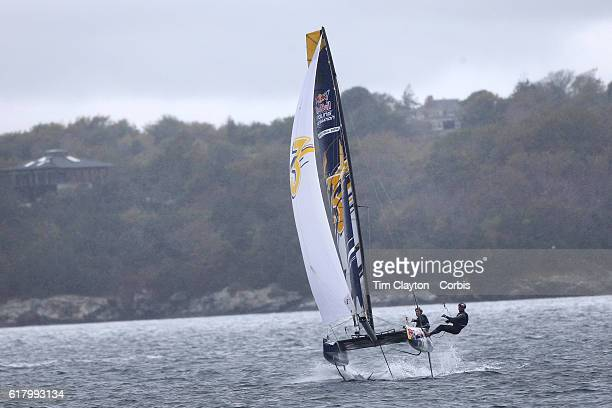 The Russian team of Kirill Elchaninov and Semyon Sukhno in action during the Red Bull Foiling Generation World Final 2016 on October 22 2016 in...
