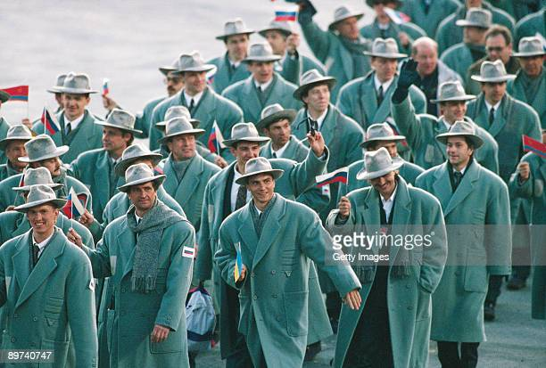 The Russian team parading at the opening ceremony of the Winter Olympics at the Theatre des Ceremonies, Albertville, Canada, 8th February 1992.