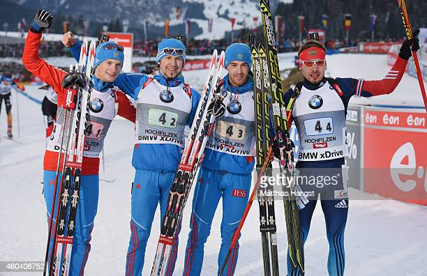 The Russian Team with Maxim Tsvetkov of Russia, Timofey Lapshin of Russia, Dmitry Malyshko of Russia and Anton Shipulin of Russia celebrate after...