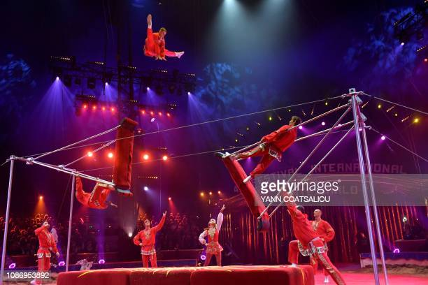 The Russian Troupe Filinov performs during the gala of the 43th MonteCarlo International Circus Festival in Monaco on January 22 2019 The festival...