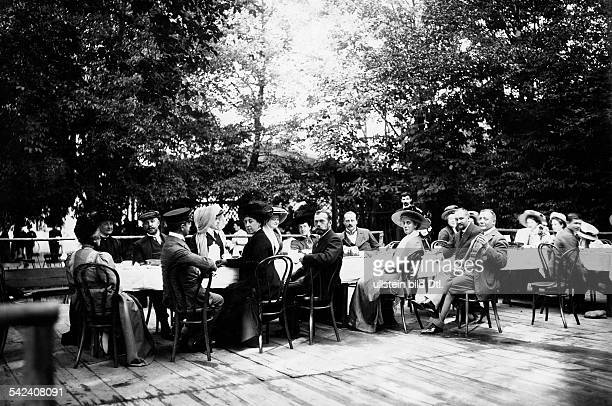 the Russian Tsar Nicholas II visiting Ernest Louis Grand Duke of Hesse from left to right Princess Andreas of Greece Victoria of SchleswigHolstein...