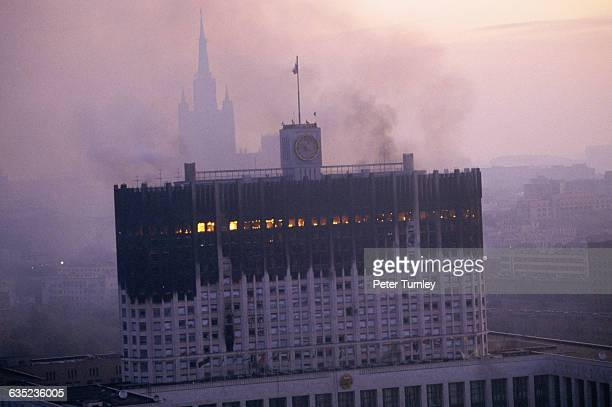 The Russian White House burns after being attacked by tank fire in October 1993 Opponents of President Boris Yeltsin led by ousted vice president...