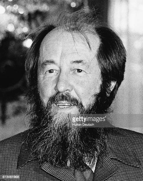 The Russian writer Alexander Solzenitsyn photographed whilst in a meeting with Margaret Thatcher in London 1983