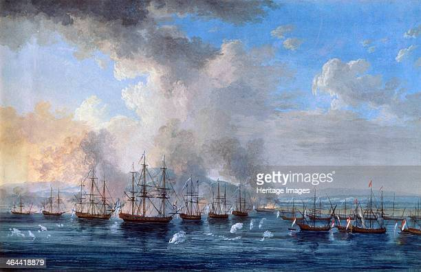 'The RussoTurkish Battle at the Damietta Castle on 1770' 17701772 Hackert Jacob Philipp Found in the collection of the State Central Navy Museum St...