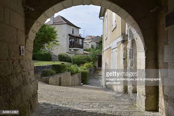 The rustic and slope alley after medieval arche