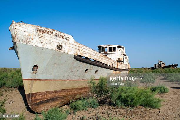 The rusting hulks of once sea worthy ships in the Aral Sea Uzbekistan The Aral Sea lying between Uzbekistan and Kazakstan was once the fourth largest...